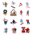 set people characters holiday scenes on vector image