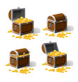 set piratic trunk chests with gold coins treasures vector image vector image