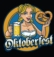 sexy bavarian girl hold the pretzel and beer vector image vector image