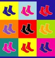 socks sign pop-art style colorful icons vector image