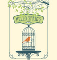 spring banner with bird in cage under green tree vector image vector image