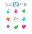 sprout leaf icons garden and weather signs vector image vector image