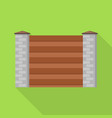 stone wood wall fence icon flat style vector image vector image
