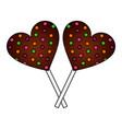 sweet lollipops chocolate in shape heart vector image vector image