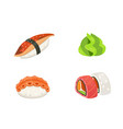 traditional japanese sushi and rolls asian vector image vector image
