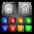 trash icon sign Set of ten colorful buttons with vector image