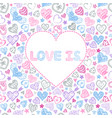 valentines card with colorful hearts vector image