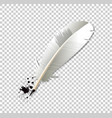 white realistic ink feather pen and ink splatter vector image