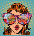 woman with sunglasses fast food and sweets vector image