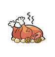 baked poultry chicken turkey or goose vector image