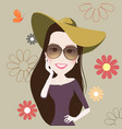 beautiful fashion girl smile cute retro vintage vector image