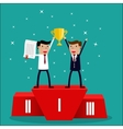 business team winner standing in first place vector image
