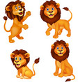 cartoon lion collection set vector image vector image