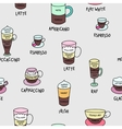Coffee types colorful cute seamless pattern vector image
