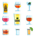 collection of various drinks and glasses beer vector image vector image