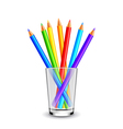 Colorful pencils in glass isolated on white vector image vector image