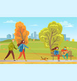 couples in autumn city park walking pet together vector image vector image