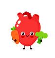 cute healthy happy heart character vector image vector image