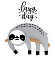 cute sleeping sloth bear animal vector image vector image