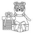 cute tiger with gifts in birthday party vector image