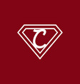 dark red white c initial letter in triangle vector image