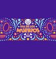 dia de los muertos banner colorful style vector image vector image