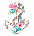 Doodle Anchor with watercolor flowers and feather vector image vector image