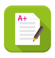 Exam preparation app flat icon with long shadow vector image vector image