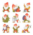 fairy tale fantastic gnome dwarf elf character vector image vector image