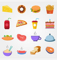 food in flat style on a grey background vector image