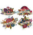 four autumn bouquets with ribbons vector image vector image