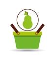 green basket fresh pear design icon vector image vector image