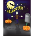 Halloween frankenstein grave yard background with vector image