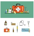 Health care medical flat banners First aid icons vector image