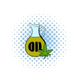 Hemp oil and cannabis leaf icon comics style vector image