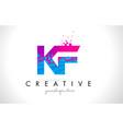 kf k f letter logo with shattered broken blue vector image vector image
