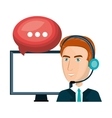 laptop man customer service call center design vector image