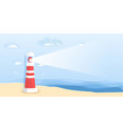 lighthouse on sea beach in paper art style vector image vector image