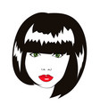 lovely woman face with bob haircut logo vector image