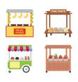market stalls flat icons vector image