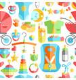 Newborn infant cute flat seamless pattern baby vector image