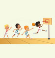 of kids playing basketball vector image