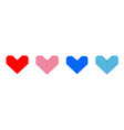 paper heart icon set line red blue pink origami vector image vector image