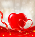 red heart with ribbons vector image vector image