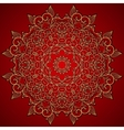 Red round gold lace ornament vector image