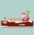 santa and helper with carriage in chimney vector image
