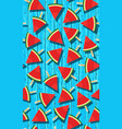 seamless pattern with watermelons slice popsicle vector image