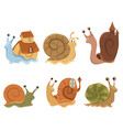 set cartoon snails with houses collection of vector image vector image
