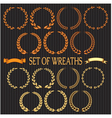 set of wreaths with laurel leaves and spikelets vector image vector image
