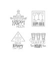 set sketch style signs for cocktail bar vector image